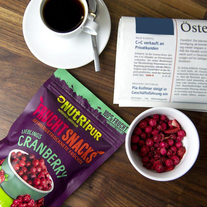 Gefriergetrocknete Früchte ohne Zusätze Cranberry natürlich Snack