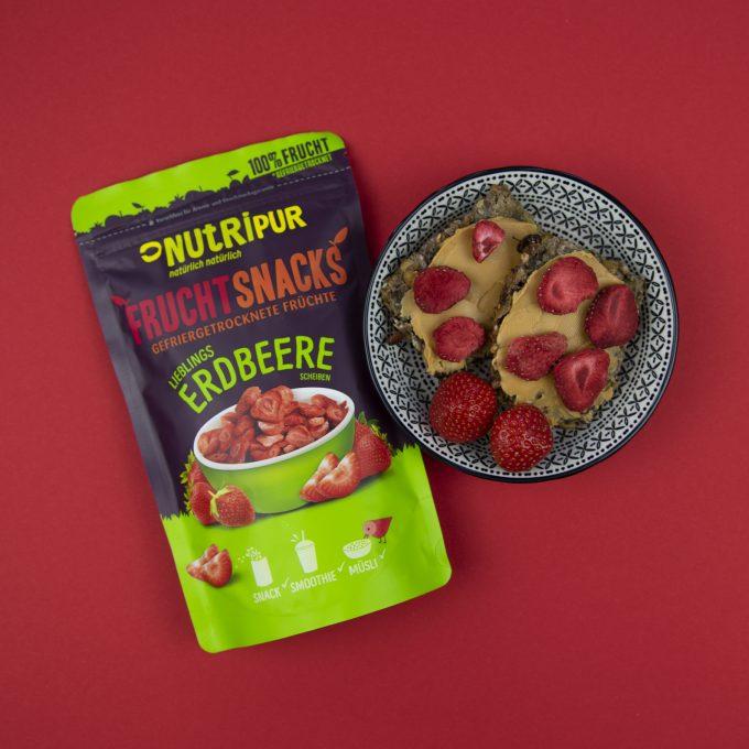 Gefriergetrocknete Früchte ohne Zusätze Erdbeere Erdnussbutter natürlich vegan