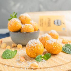 Gefriergetrocknete Früchte ohne Zusätze Aprikose Bliss Balls Kokos natürlich ohne Zusätze