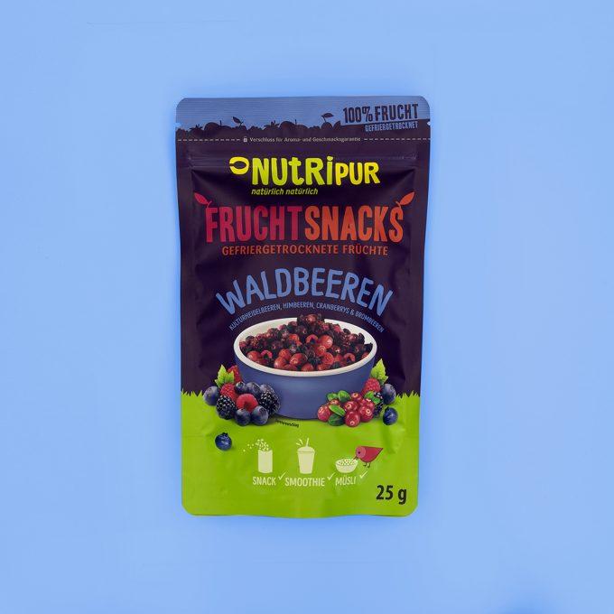 Gefriergetrocknete Früchte ohne Zusätze Waldbeeren Heidelbeeren Himbeeren Cranberrys Brombeeren