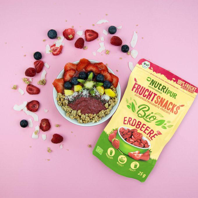 Gefriergetrocknete Früchte ohne Zusätze BIO natürlich Erdbeere Smoothie Bowl