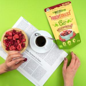 Gefriergetrocknete Früchte ohne Zusätze BIO natürlich Kirsch und Beere Kaffee