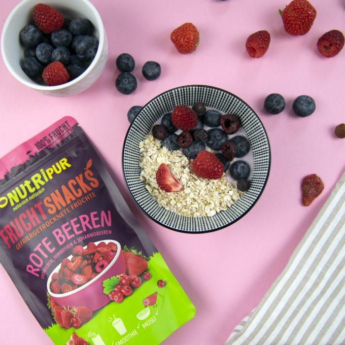 Gefriergetrocknete Beeren ohne Zusätze natürlich Müsli Erdbeeren Himbeeren Johannisbeeren