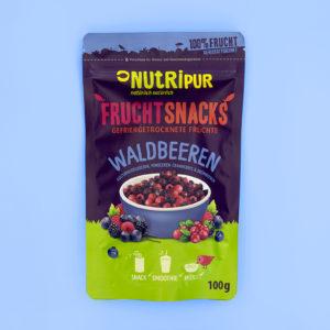 Gefriergetrocknete Früchte ohne Zusätze Waldbeeren Heidelbeeren Himbeeren Cranberrys Brombeeren Smoothie Bowl Frühstück vegan glutenfrei