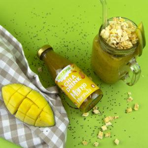 Chia Samen Drink Smoothie Mango Maracuja natürlich ohne Zusätze vegan