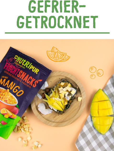 Gefriergetrocknete Früchte ohne Zusätze Mango natürlich vegan glutenfrei
