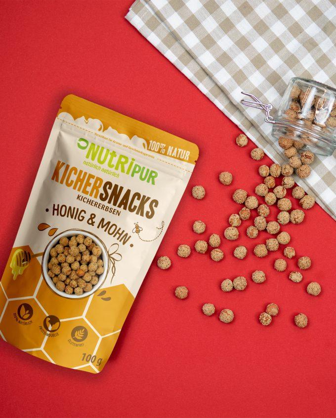 NutriPur Kichererbsen Honig Mohn geröstet natürlich Snacks