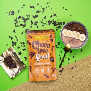 Smoothie Bowl Schokolade Kakaonibs Haferflocken Super Food natürlich