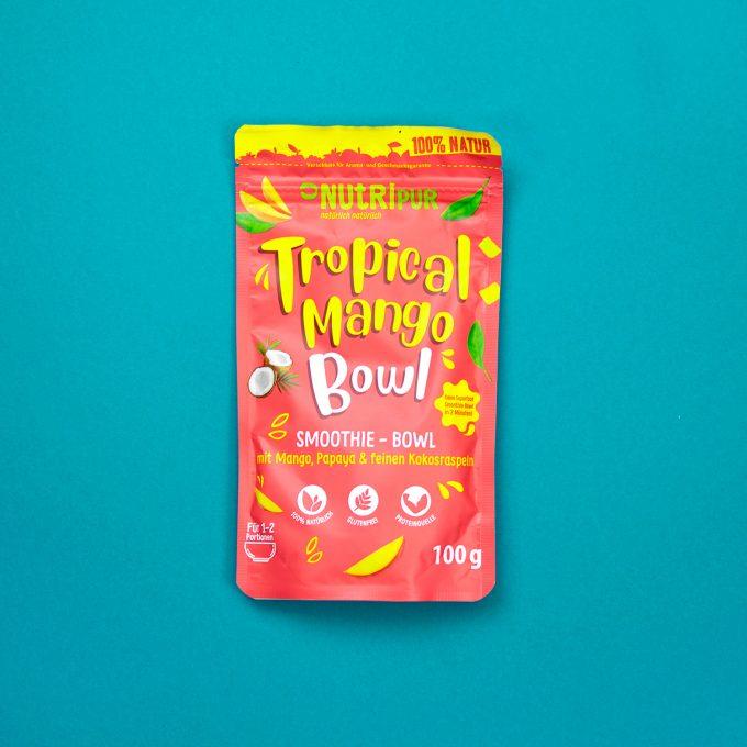 Smoothie Bowl Tropical Mango Kokos Haferflocken Super Food natürlich