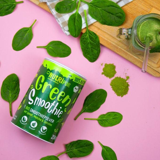 Green Smoothie Smoothiepulver Spinat Matcha Spirulina Super Food natürlich